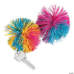 Rubber Stringy Ball Keychains
