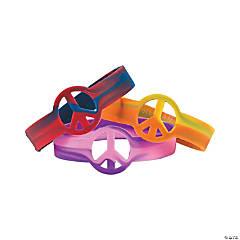 Rubber Tie-Dyed Peace Sign Bracelets