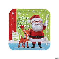 Rudolph the Red-Nosed Reindeer® Square Paper Dinner Plates - 8 Ct.