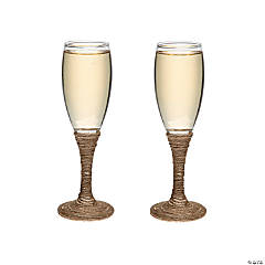 Rustic Wedding Toasting Champagne Flutes