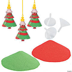 Sand Art Christmas Tree Necklace Craft Kit for 24