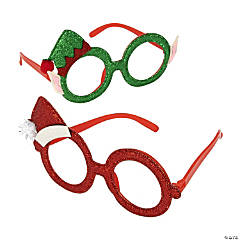 Santa & Elf Christmas Glitter Glasses