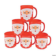 santa face plastic mugs - Cheap Christmas Mugs