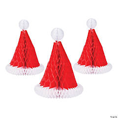 Santa Hat Honeycomb Centerpieces