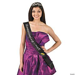 "Satin Black ""Homecoming Court"" Sash"