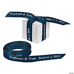 Satin Personalized Navy Ribbon - 5/8""