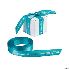 Satin Personalized Turquoise Ribbon - 5/8