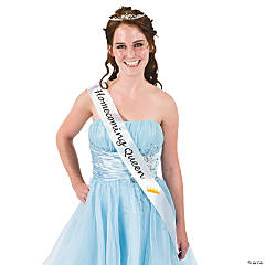 "Satin White ""Homecoming Queen"" Sash"