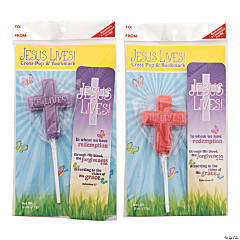 Scripture Candy™ Jesus Lives Cross Lollipop & Bookmark