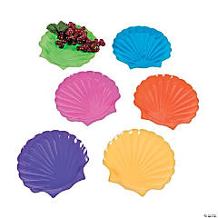 Sea Shell Shaped Plastic Plates - 12 Ct.