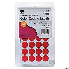 Self-Adhesive Color-Coding Labels, Red, 1000 Per Pack, 12 Packs