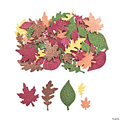 Self-Adhesive Glitter Leaf Shapes