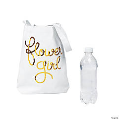 Sequin Flower Girl Canvas Tote Bag
