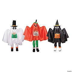 Set of 3 Ghost  Pumpkin and Bat Standing Halloween Kid Figures 36