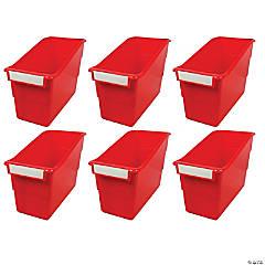 Shelf File with Label Holder, Standard, Red, Set of 6
