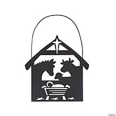 Silhouette Nativity Stable Animals Ornaments