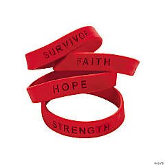 Silicone Awareness Sayings Bracelets - Red