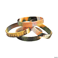 Silicone Camouflage Army Sayings Bracelets