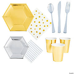 Silver & Gold Tableware Kit for 24 Guests