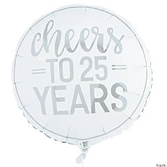 Silver Cheers to 25 Years Mylar Balloon