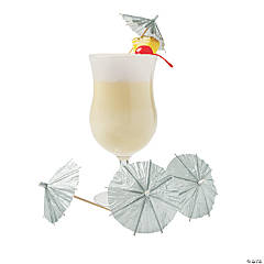 Silver Cocktail Parasols