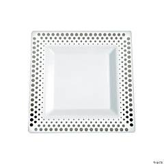 Silver Dot Plastic Dessert Plates - 25 Ct.