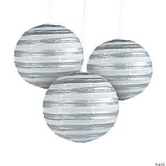 Silver Foil Striped Hanging Paper Lanterns