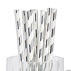 Silver Foil Striped Paper Straws