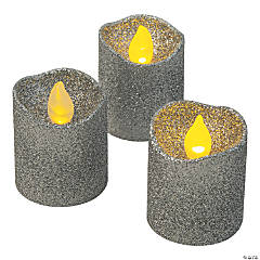 Silver Glitter Battery-Operated LED Votive Candles