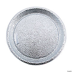 Silver Hammered Design Serving Tray