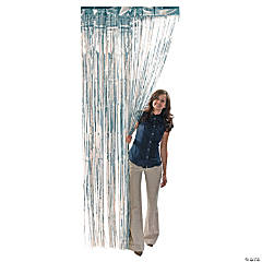 Silver Metallic Fringe Door Curtain