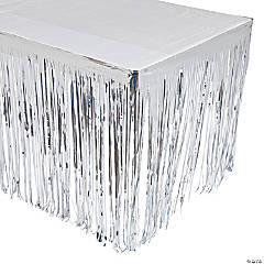 Silver Metallic Fringe Table Skirt