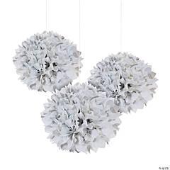 Silver Polka Dot Tissue Pom-Pom Decorations with Grommet