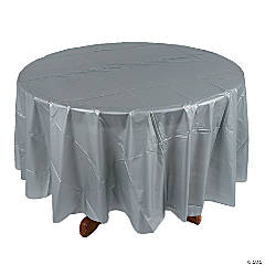 Silver Round Plastic Tablecloth