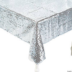 Silver Sequined Tablecloth