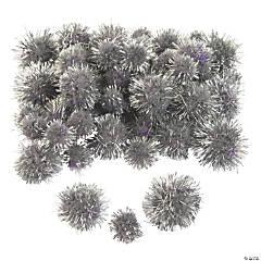 Silver Tinsel Pom-Poms