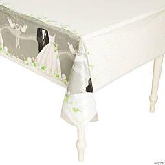 Silver Wedding Plastic Tablecloth