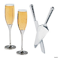 Silvertone Champagne Flutes with Wedding Cake Knife & Server Set