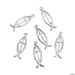Silvertone Christian Fish Charms
