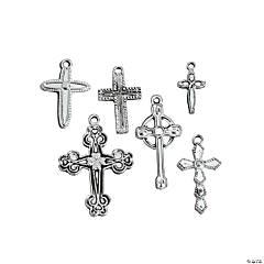 Silvertone Cross Charms