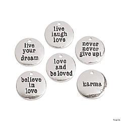 Silvertone Metal Inspirational Sayings Charms