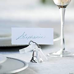 Silvertone Metal Wedding Two Hearts Bell Place Card Holders