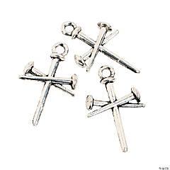 Silvertone Nail Cross Charms