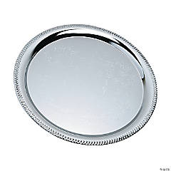 Silvertone Round Serving Tray