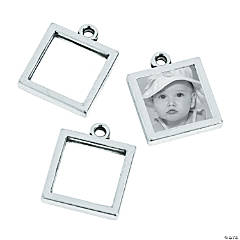 Silvertone Square Frame Charms