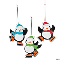 Skating Penguin Christmas Ornaments