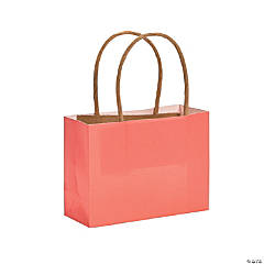 Small Coral Kraft Paper Gift Bags