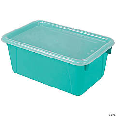 Small Cubby Bin, with Cover, Classroom Teal, Set of 3