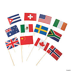 Small Flags of All Nations Stick Props