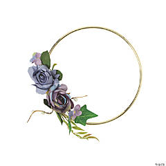 Small Gold Hoop Decoration with Purple Floral Accents